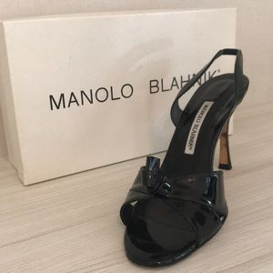 Manolo Blahnik black patent heels dress shoes 9.5